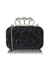 bag,black clutch,embellished clutch,crystal embellished,knuckle clutch,clutch,lined clutch,long chain,www.ustrendy.com