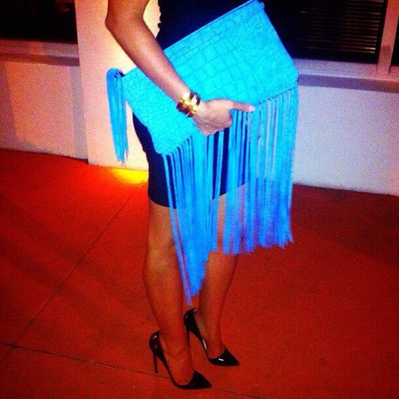 bag blue blue bag neon blue stringy strings string neon