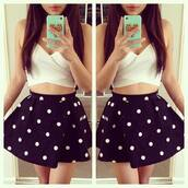 skirt,skaterskirt,polka dots,cute,tank top,black,white,blouse,top,white crop tops,crop tops