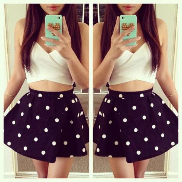 Adorable Black Skirt - Polka Dot Skirt - Mini Skirt - $33.00
