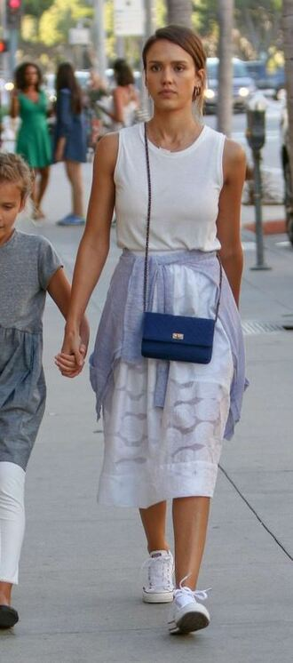 skirt top summer outfits midi skirt jessica alba
