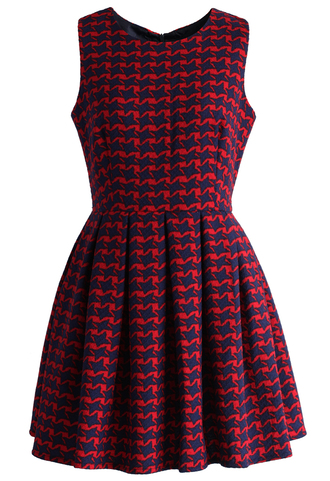 dress red houndstooth tweed flare dress red houndstooth flare dress chicwish
