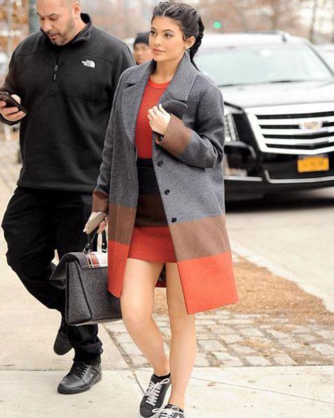 Coat Dress Streetstyle Kylie Jenner Fashion Week 2016
