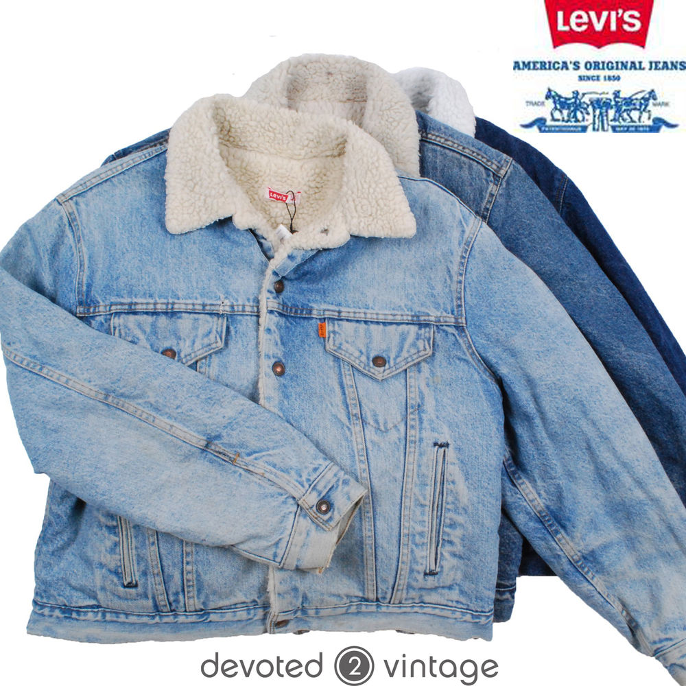 VINTAGE Winter LEVIS DENIM SHERPA SHEARLING JACKET FUR LINING S M L XL