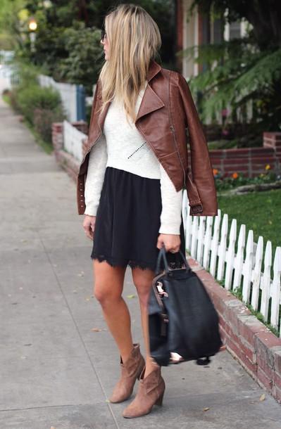 devon rachel sweater dress jacket sunglasses bag shoes