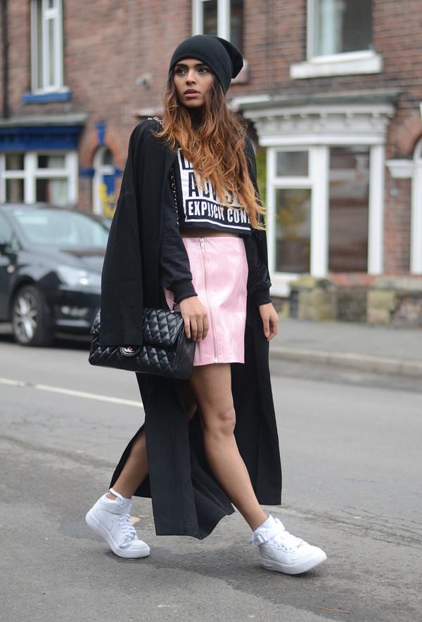 she wears fashion skirt coat hat
