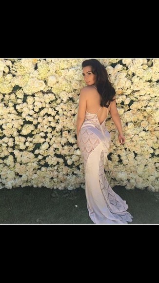 formal dress white dress long prom dress lace dress fashion kim kardashian silk low back lace
