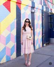 dress,tumblr,midi dress,pink dress,lace dress,sandals,flat sandals,pink sandals,sunglasses,earrings,pompon earrings,bag,shoes,jewels