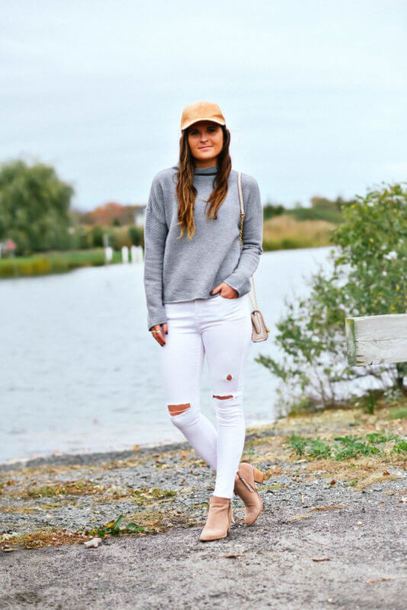 to be bright blogger sweater jeans shoes hat