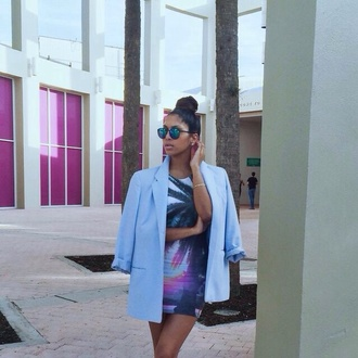 dress style summer outfits jacket beautiful palm tree print blue purple colorful fit slim design fresh