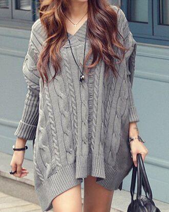 dress grey fall outfits sweater dress long sleeves trendy knitwear trendsgal.com