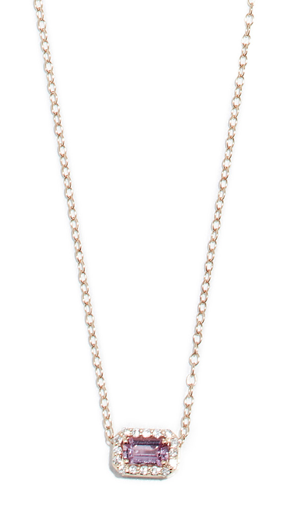 Alison Lou 14k Sapphire and Diamond Tiny Necklace in pink