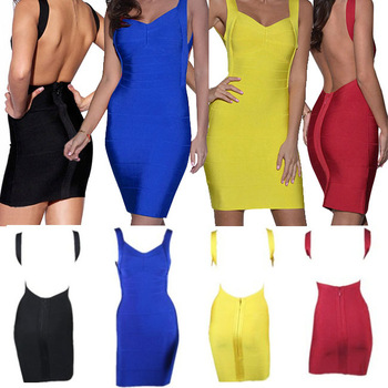 Sexy Women Deep V Neck Open Backless Bodycon Stretch Bandage Mini Party Prom Slim Dress free ship-in Dresses from Apparel & Accessories on Aliexpress.com