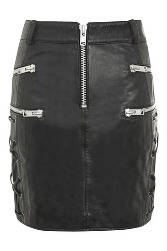 skirt leather skirt zip lace leather black