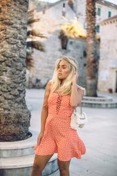 dress,tumblr,polka dots,mini dress,summer,summer dress,summer outfits,bag,white bag,lace up