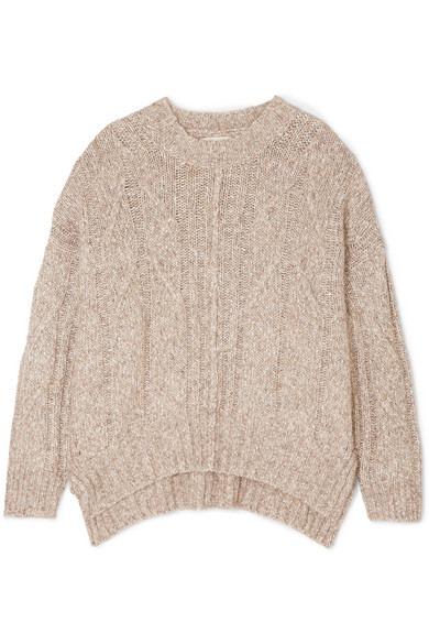 LOULOU STUDIO - Oversized Cable-knit Mélange Cotton-blend Sweater - Beige - Oversized Cable-knit Mélange Cotton-blend Sweater