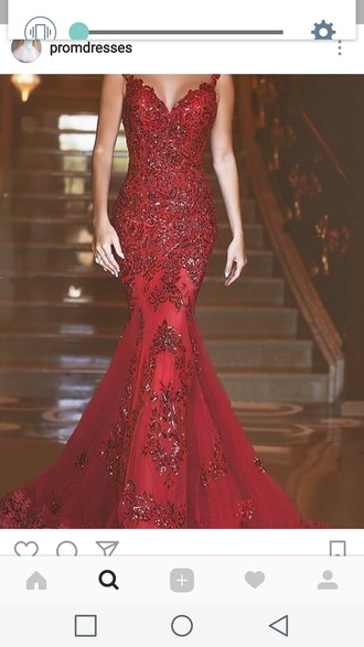 dress red dress red red prom dress sparkly dress sexy v-neck dress mermaid prom dress long dress mermaid dresses