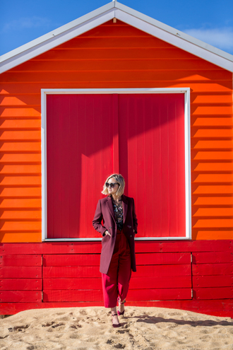 late afternoon blogger coat pants top shoes jewels sunglasses red pants burgundy coat fall outfits