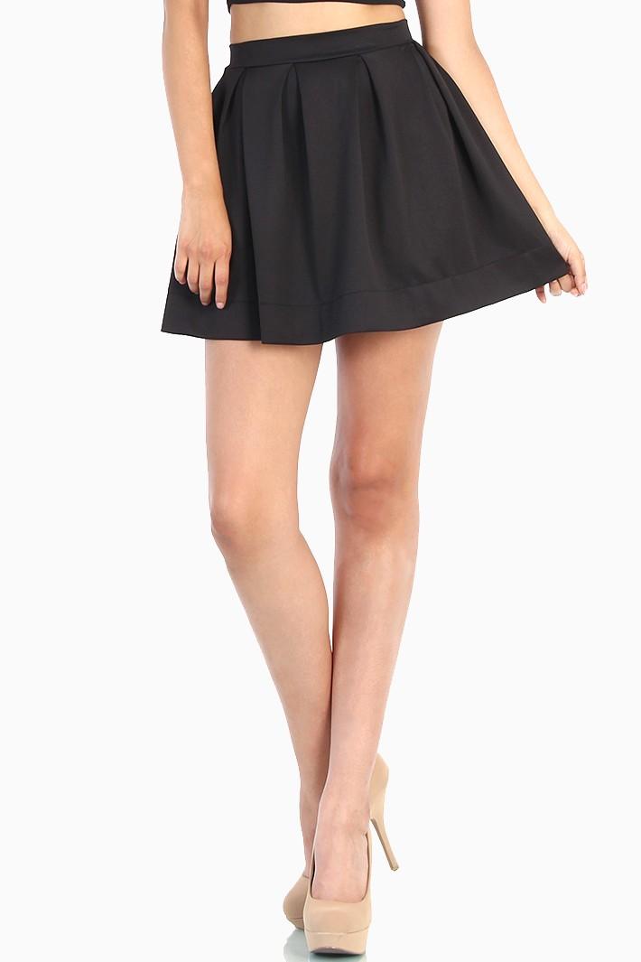 zipper back black skater skirt