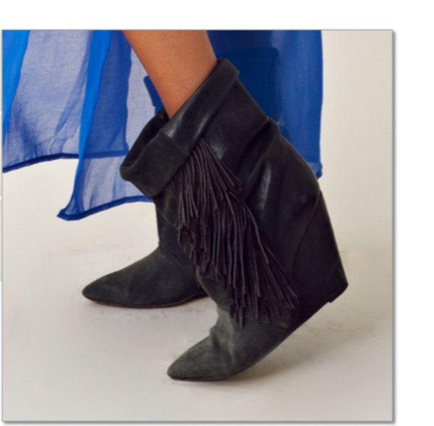 Shoes: fringes, boots, pointed toe, wedge boots - Wheretoget