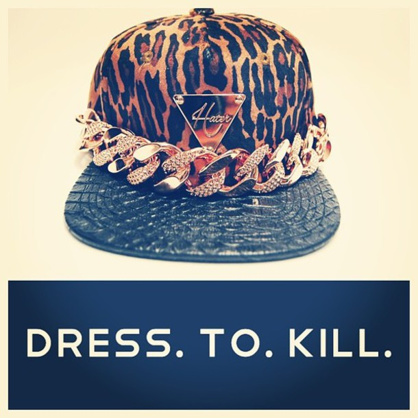 order hat hater kills snapback tight cap gold leopard print print metal  makeup table dress to 296555d0cb5