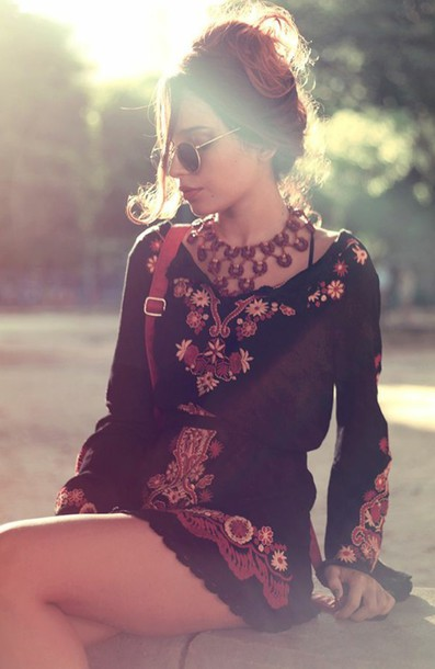 dress romper cardigan gypsy black and orange and red dress