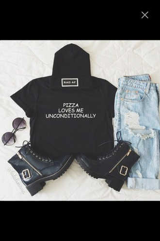 top rad af pizza love shorts shades sunglasses hat beanie crop tops boots gold t-shirt jeans ripped jeans summer outfits