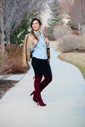 sandy a la mode,blogger,jewels,black jeans,knee high boots,burgundy shoes,gold,beige jacket,statement necklace