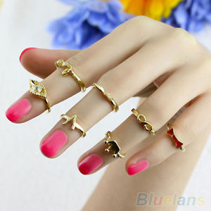 7 Pcs Womens Chic Elegant Crown Nail Mid Midi Finger Knuckle Tail Stacking Rings