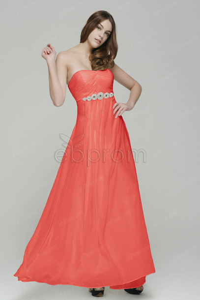 46417c01f3a7 dress coral coral color bridesmaid prom dress long evening dress formal  dress gown strapless empire waist