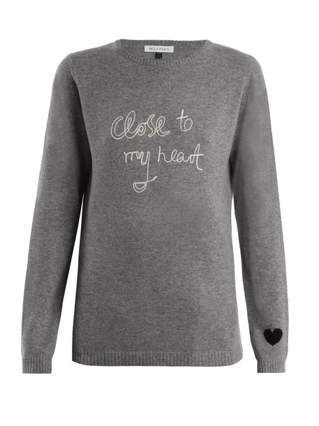 Bella Freud sweater heart grey