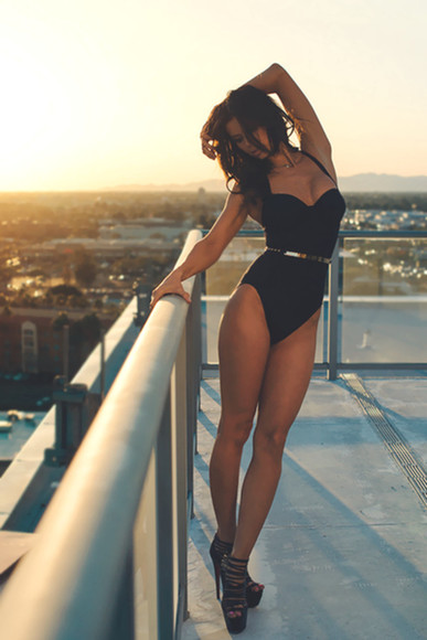 swimwear black one piece shoes bodysuit belt