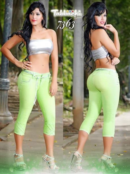 jeans capri pants yallure yallure.com lime mint green pants lime green pants tabbachi butt lifting jeans