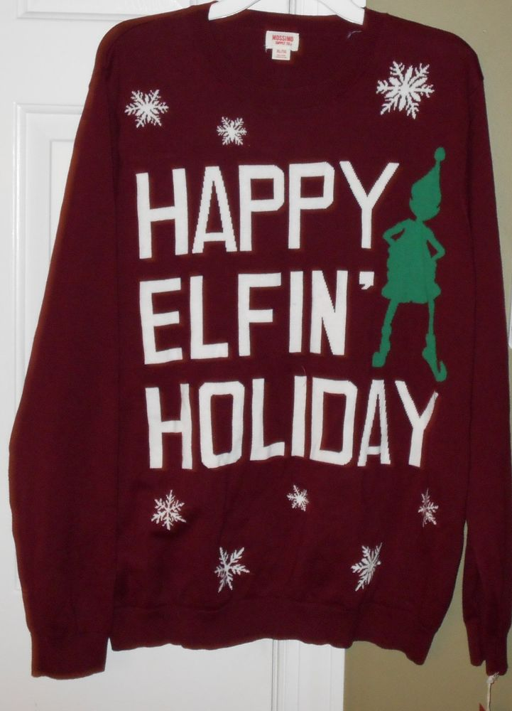 Happy Elfin Holiday Ugly Christmas Sweater New Mens Size Xl Extra
