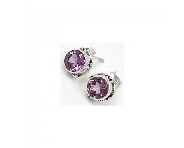 Awesome 925 sterling silver Gemstone Faceted Amethyst Stud