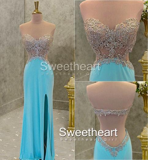 Line sweetheart chiffon long lace prom dresses
