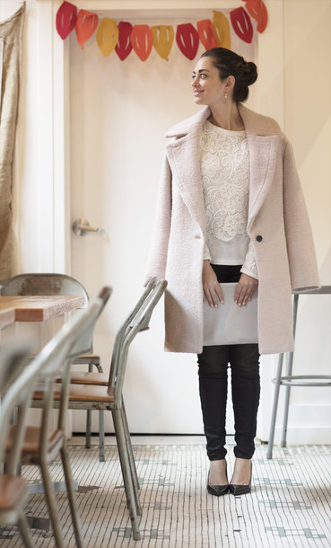 coco and vera blogger pink coat baby pink lace top classy coat top jeans shoes bag jewels