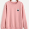 Pink drop shoulder sweatshirt with alien patch -shein(sheinside)