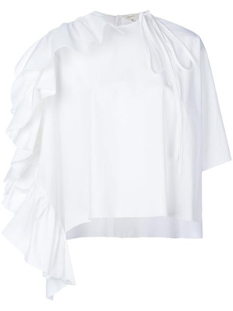 DELPOZO blouse cape ruffle women white cotton top