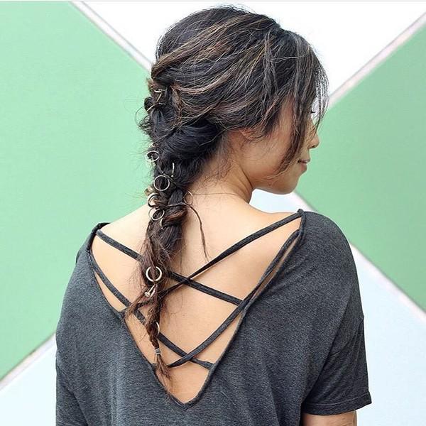 hair accessory hair rings hairstyles brunette black top open back braid