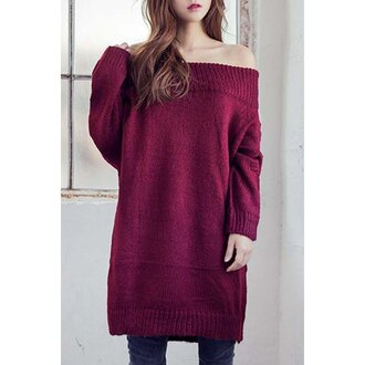 sweater fashion style trendy winter outfits burgundy long sleeves knitwear long sweater oversized sweater off the shoulder warm cozy