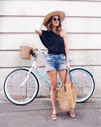top hat tumblr one shoulder black top shorts denim denim shorts shoes slide shoes bag woven bag sun hat