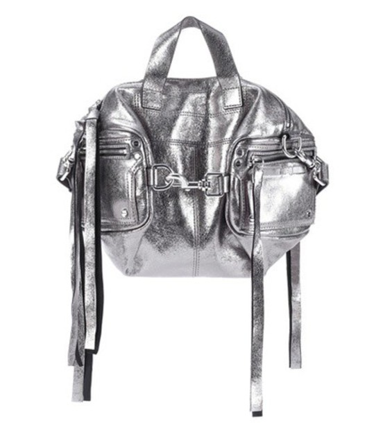 McQ Alexander McQueen metallic bag shoulder bag leather silver