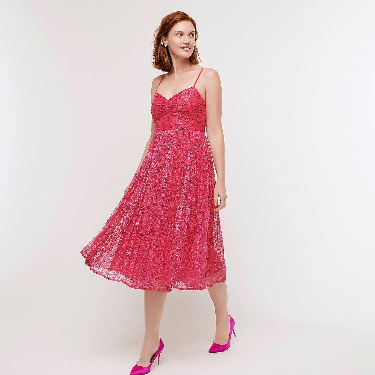 Pleated A-Line Midi Dress In Metallic Lace