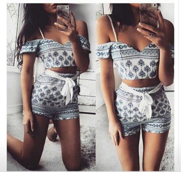 romper outfit high waisted shorts shorts crop tops