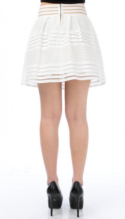 Stripes all around pleated mini skirt
