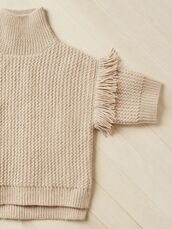 sweater,fringe sweater,knitted sweater,blush pink,champagne,fringes,turtleneck,knitwear