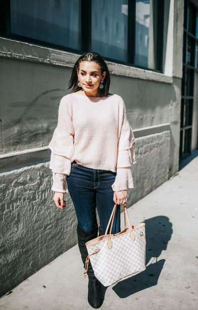 hashtagfablife blogger sweater jeans shoes jewels fall outfits tote bag louis vuitton bag louis vuitton pink sweater