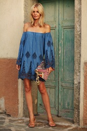 tuula,blogger,bag,jewels,antik batik,dress,summer dress,blue,blue dress,off the shoulder dress