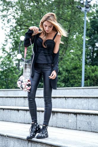 the fashion fruit blogger jacket bag leather pants black top bustier black blazer black sneakers louis vuitton black pants